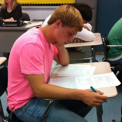 Trey Bates enjoys the challenges of a calculus test.