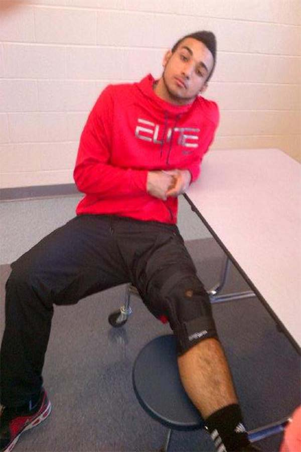Austin Harris tore his ACL during a football game.