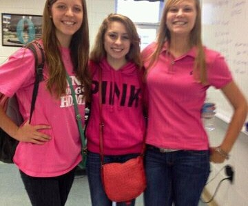 Abby Hatley, Sarah Newman, and Mary Szoka wear pink in support of Kaitlyn