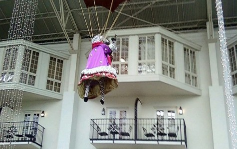 This stuffed zebra parachuting from the ceiling in a pink dress at the Opryland Hotel in Nashville would be distracting to anyone, let alone someone with ADD.
