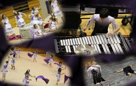 A collage of the drumline and winter guard.