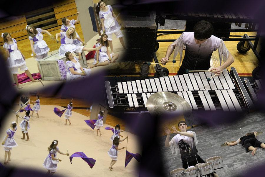 A+collage+of+the+drumline+and+winter+guard.