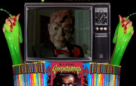 Goosebumps image featuring Slappy (Night of the Living Dummy) on the television underneath a pile of other Goosebumps books accompanied by slimey girl hands.