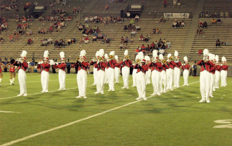 The BJHS marching band stands ready to give their first performance of the season.