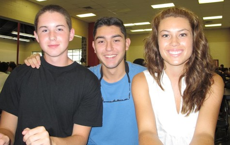 Peer Helpers Carla Mersereau and Brian Tachias sit with new student, Matthew Howell during lunch.