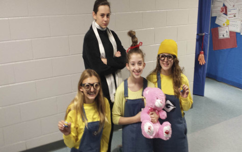 Despicable me friends pose for a dramatic picture