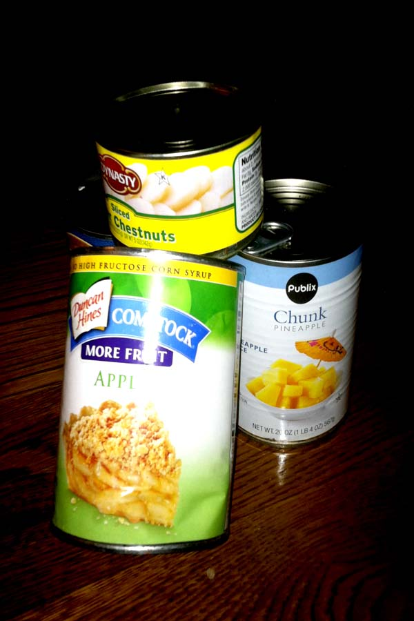 Such canned food products of all sizes and colors will be used in the sculptures that the students will design and create.