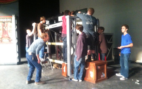 Techies working on the lift for The Last Illusion.