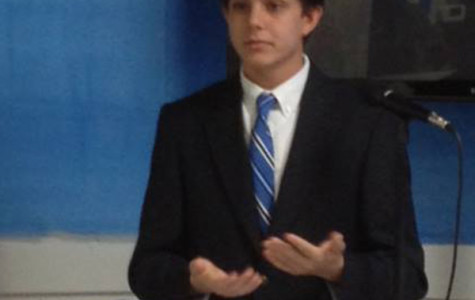 Jordan Cozby speaking with the Madison County Democrats Executive Committee about his time at the Young Democrats of America High School Leadership Academy in July 2013.