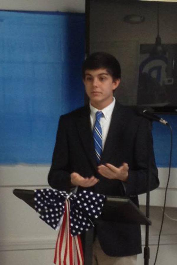 Jordan+Cozby+speaking+with+the+Madison+County+Democrats+Executive+Committee+about+his+time+at+the+Young+Democrats+of+America+High+School+Leadership+Academy+in+July+2013.