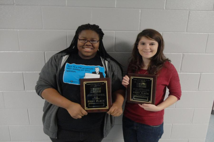 Khadijah Thompson and Mary Butgereit with their 1st place awards from the Poetry Out Loud State Finals