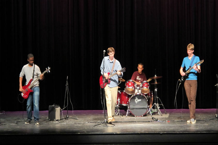 The Upbeats, who won the BJHS Talent Show overall, perform their original songs.