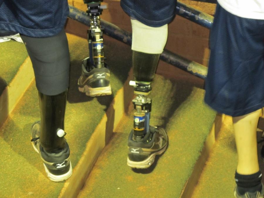 Photo of David Swansons prosthetic legs on the Arizona Amputee Softball team