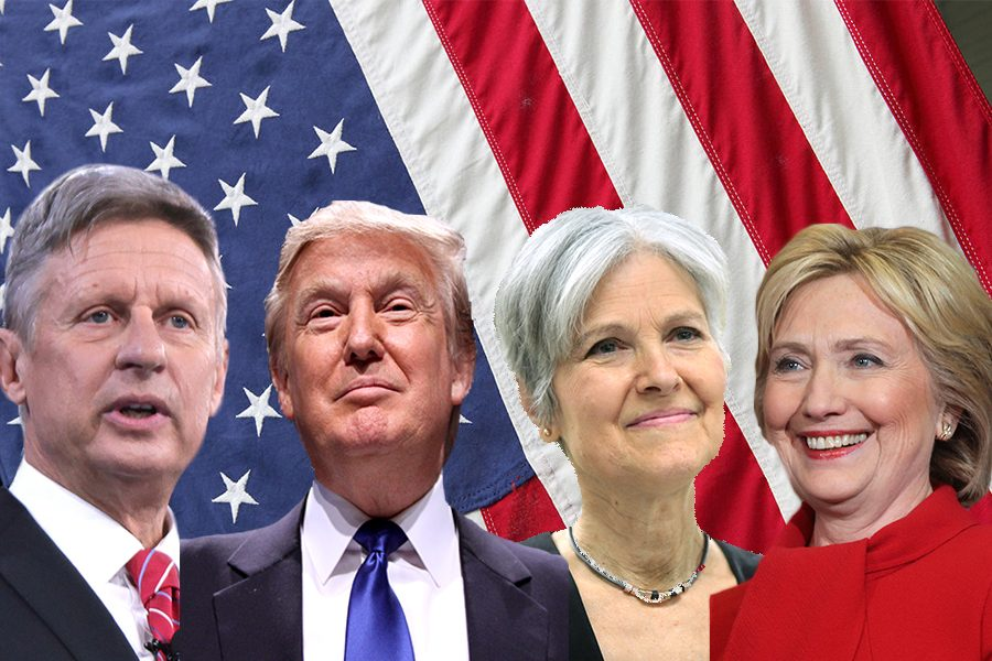 Presidential candidates for the 2016 race. Left to right: Gary Johnson, Donald Trump, Jill Stein, Hillary Clinton