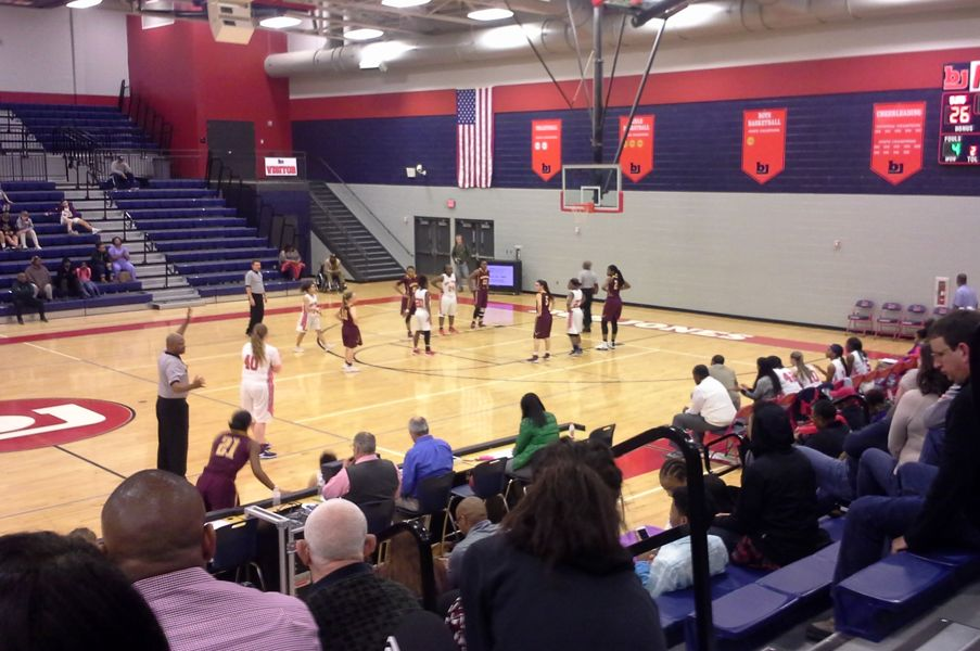 The girls varsity team facing the Madison Academy Mustangs on January 24th.