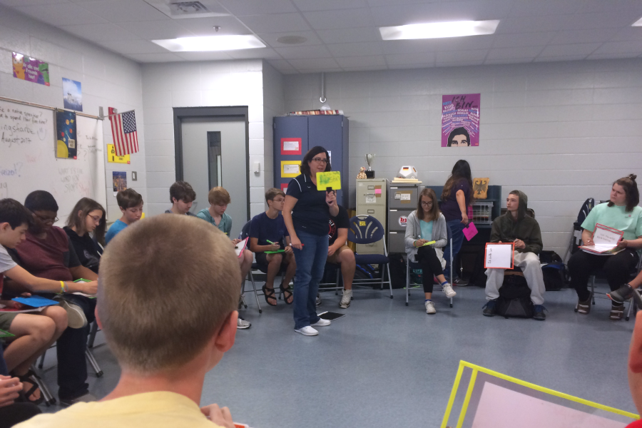 Frau Bruni's German 1 students play a question and answer game based on activities they have learned.