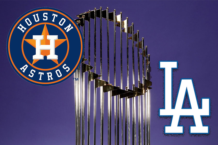 The Houston Astros play the Los Angeles Dodgers to compete for the Commissioner's Trophy.