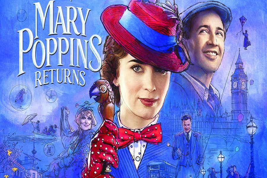 The poster for Mary Poppins Returns embraces the art quality of the books it is based on.