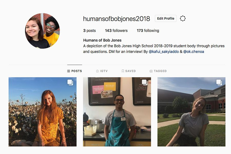 The Instagram account posts multiple student profiles.