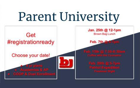 Upcoming Parent University Counselor Meetings