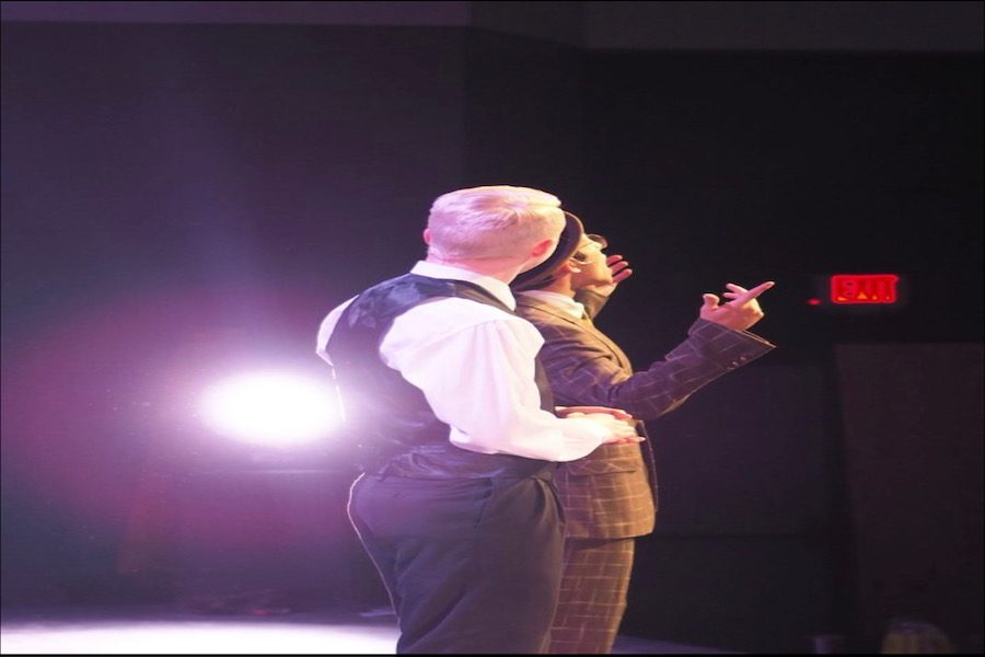 Michael Willis playing Carl Hanratty and Justin Peel playing Frank Abagnale Jr. performing the opening number.