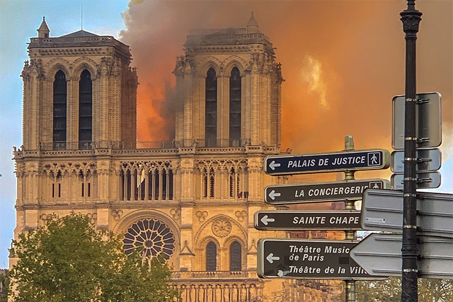 A view of the Notre Dame Cathedral as it is ablaze on Monday evening.