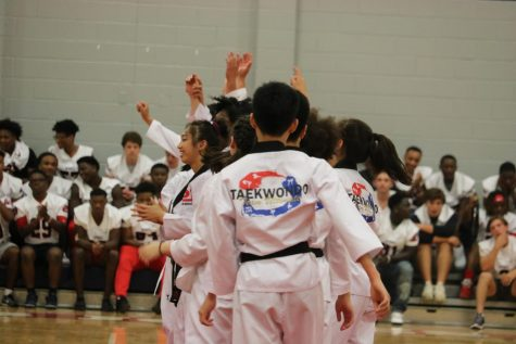 TKD club has a demonstration at a pep rally.